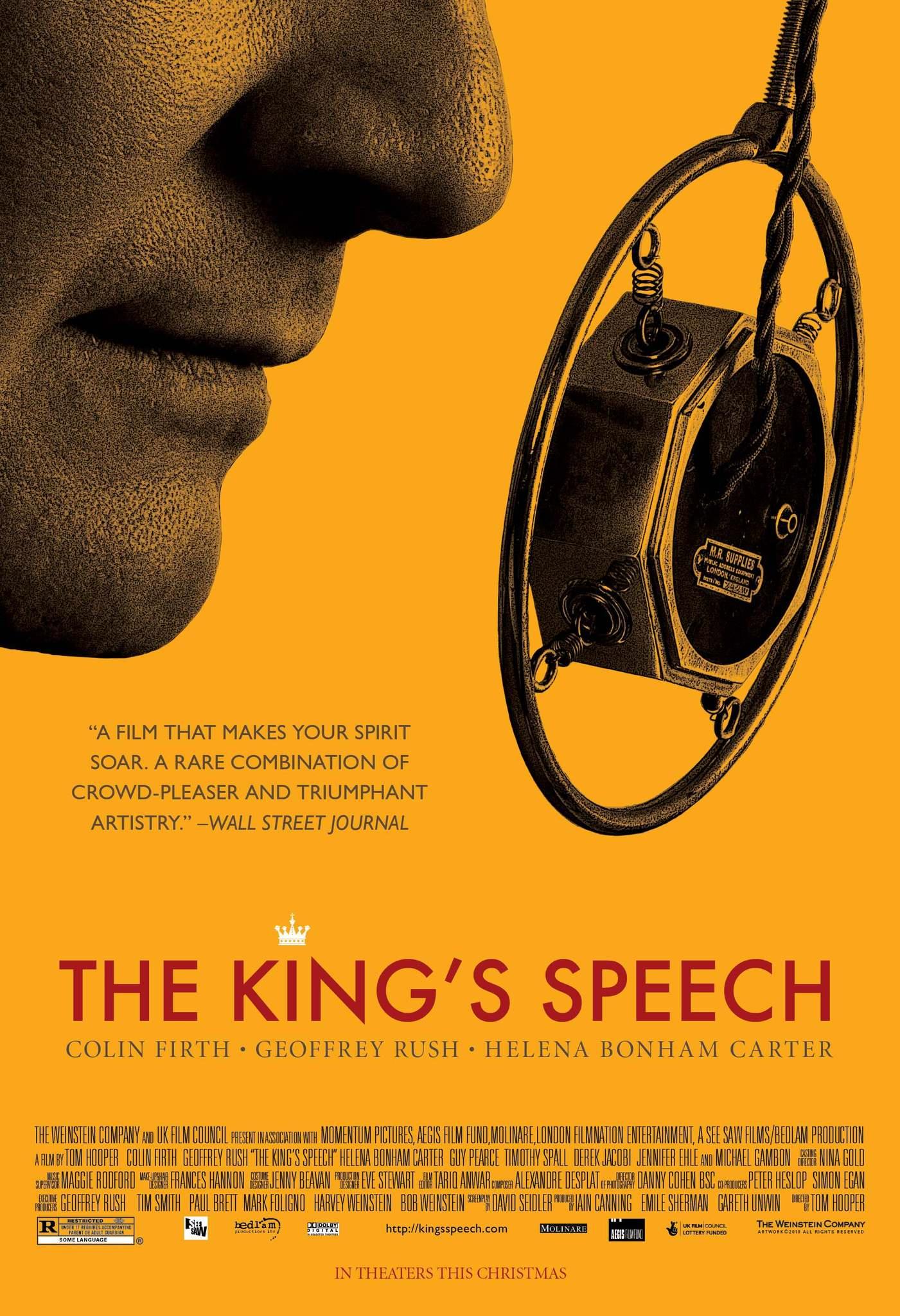 kings speech The king's speech ist eine britische filmbiografie des regisseurs tom hooper aus dem jahre 2010, in der colin firth den britischen könig georg vi darstellt der film gewann bei der oscarverleihung 2011 vier auszeichnungen in den kategorien bester film, beste regie, bester hauptdarsteller und bestes originaldrehbuch.